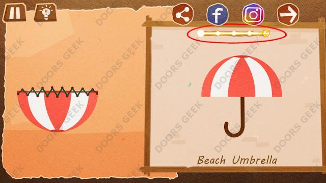 Chigiri: Paper Puzzle Novice Level 3 (Beach Umbrella) Solution, Walkthrough, Cheats