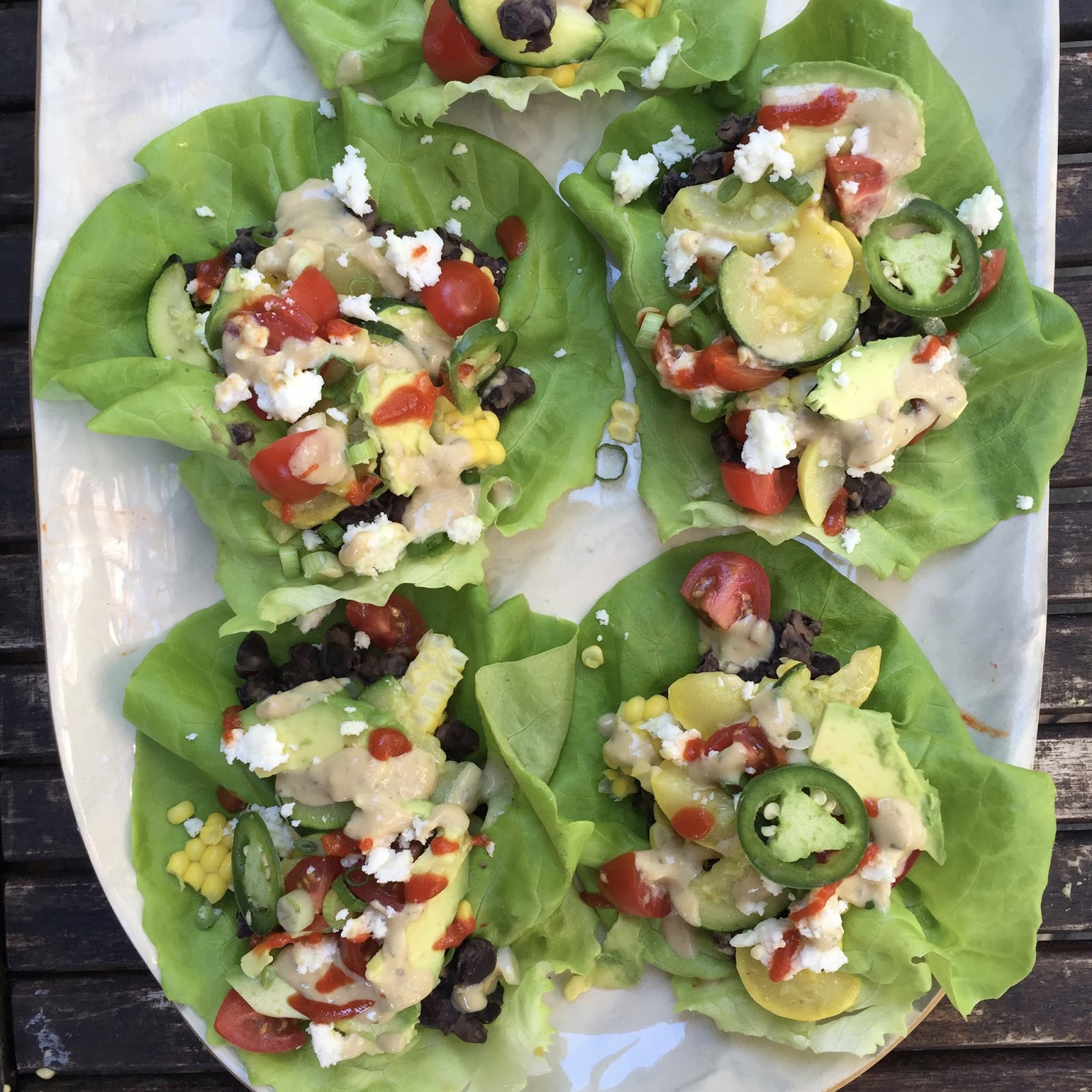 Garden Veggie Lettuce Wraps with Spicy Black Beans + Green Goddess ...