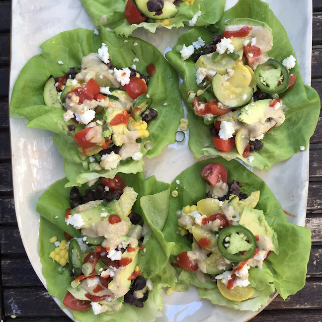 Garden Veggie Lettuce Wraps with Spicy Black Beans + Green Goddess ...