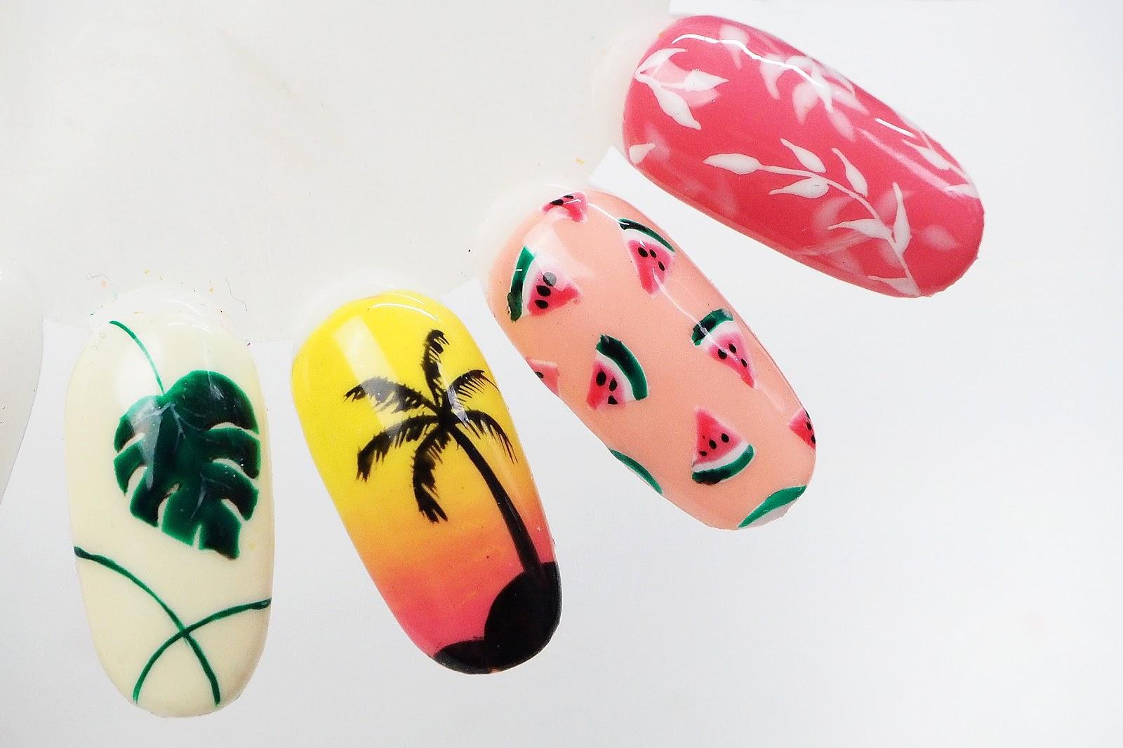 letnie wzory na paznokciach