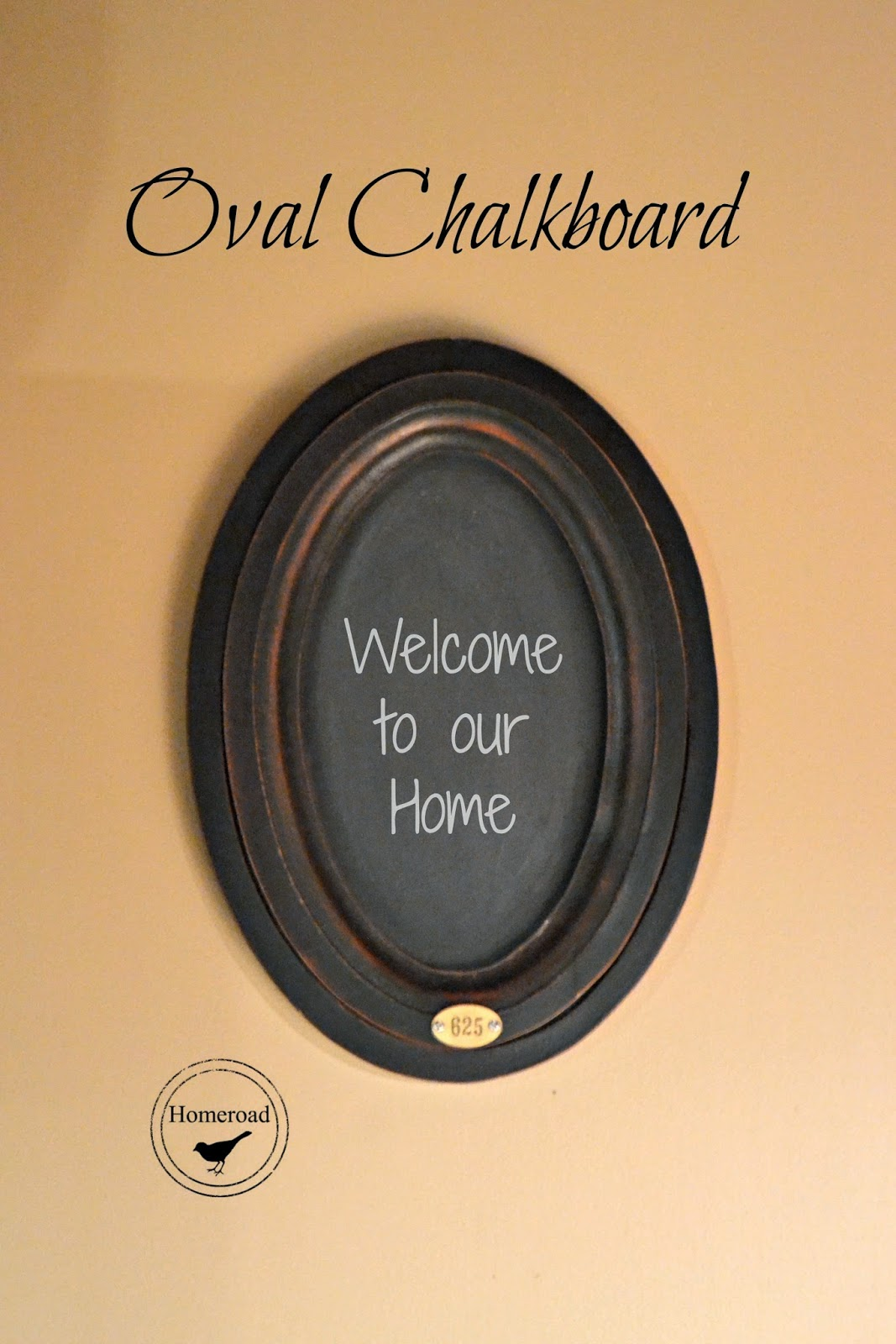 oval chalkboard with metal tag www.homeroad.net