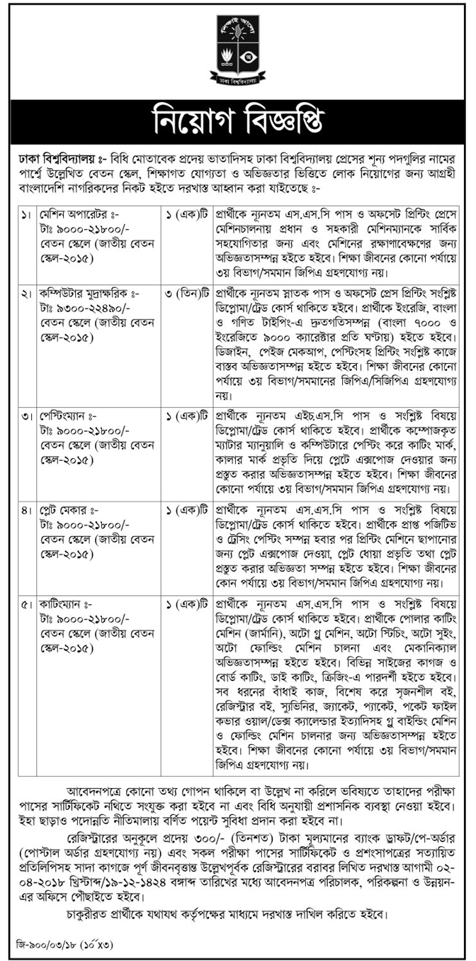 University of Dhaka (DU) Teacher Apply Instruction, Educational Qualification, Salary, Application Fee, Age and Other Information