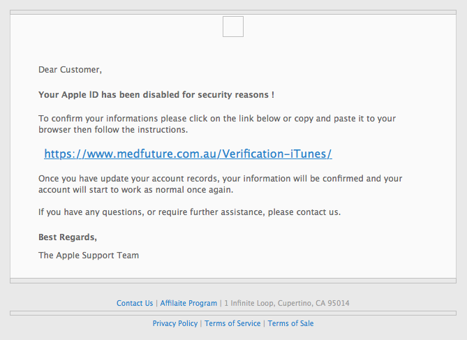 Scam : Please verify your Apple ID  (Apple Phishing)