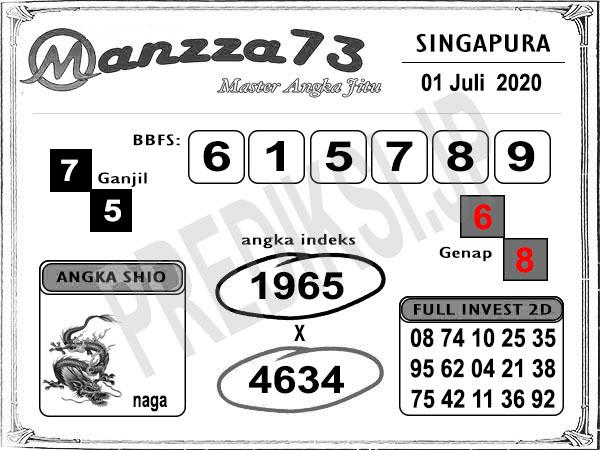 Manzza73 SGP Rabu 01 Juli 2020
