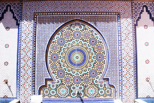 Ornate tiles in Marrakech, Morocco.