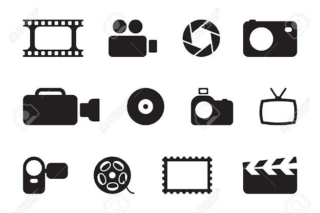 Black Photo  Video Icons Stock Vector