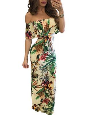vestido largo con estampado floral pegado al cuerpo