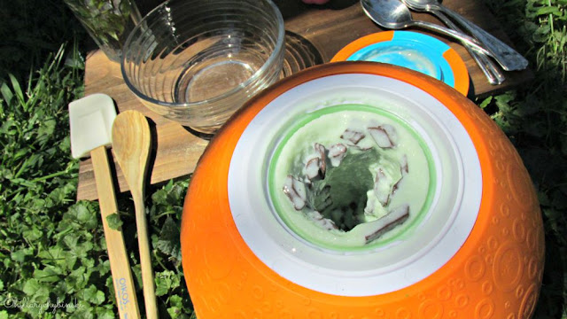 Frozen Yogurt starts to form inside the chamber