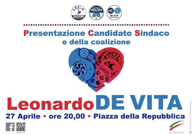 Torremaggiore, il candidato Sindaco Leonardo De Vita incontra la cittadinanza in Piazza della Repubblica