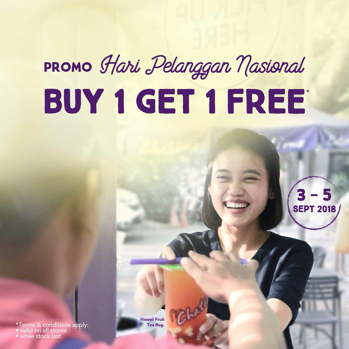 Chatime - Promo Buy 1 Get 1 Free di Hari Pelanggan Nasional (s.d 5 Spet 2018)