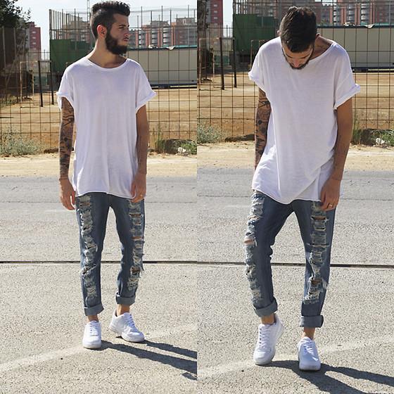 Tênis branco masculino com Camiseta branca lisa (1)