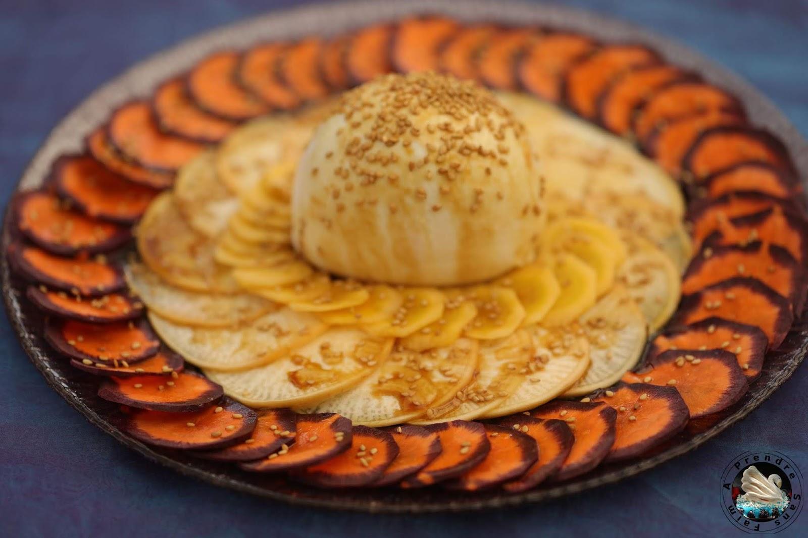 Carpaccio navet carottes à la mozzarella di bufala campana