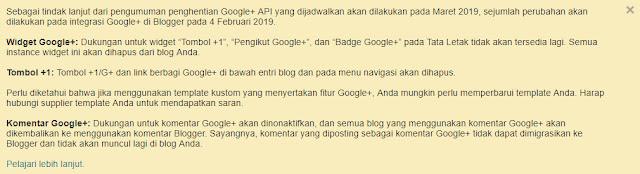 Tahapan penghapusan Google+ pada Blogger.com