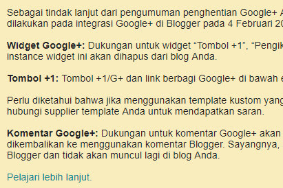Tahapan Penghapusan Layanan Google+ Pada Blogger