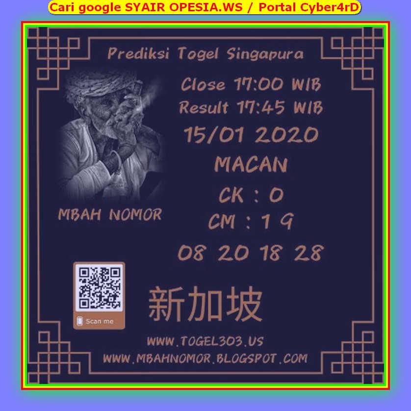 Kode syair Singapore Rabu 15 Januari 2020 169