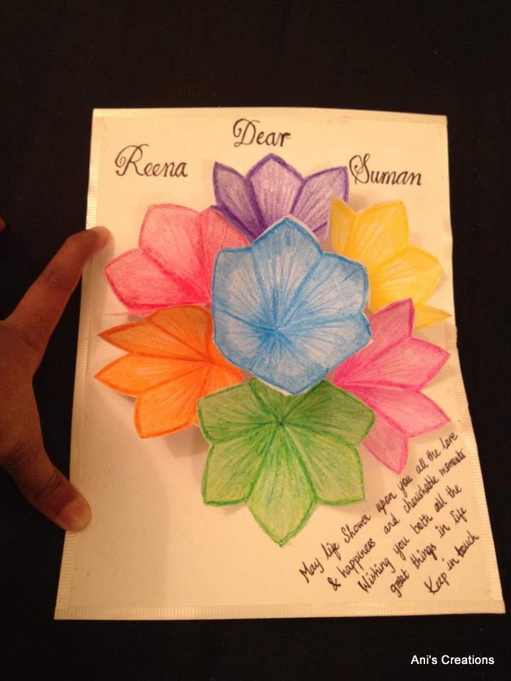 exploring myself 3d flower pop up greeting card