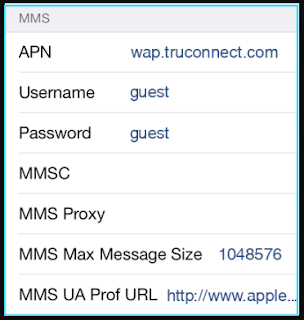 New TruConnect apn settings iPhone mms