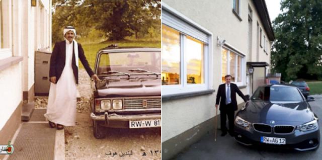 سعودي ينشر صورتين له في آلمانيا بنفس المكان تثيران الاعجاب  والفرق بينهما 42 عاماً... سبحان مغير الاحوال