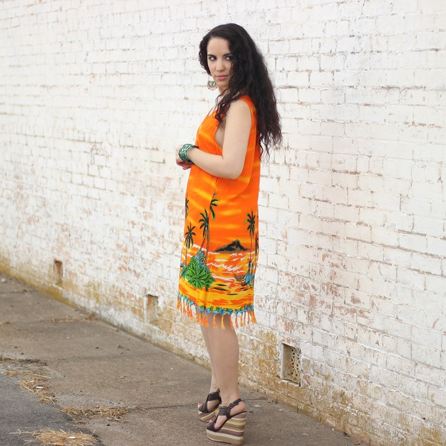Orange Tropical Scene Dress