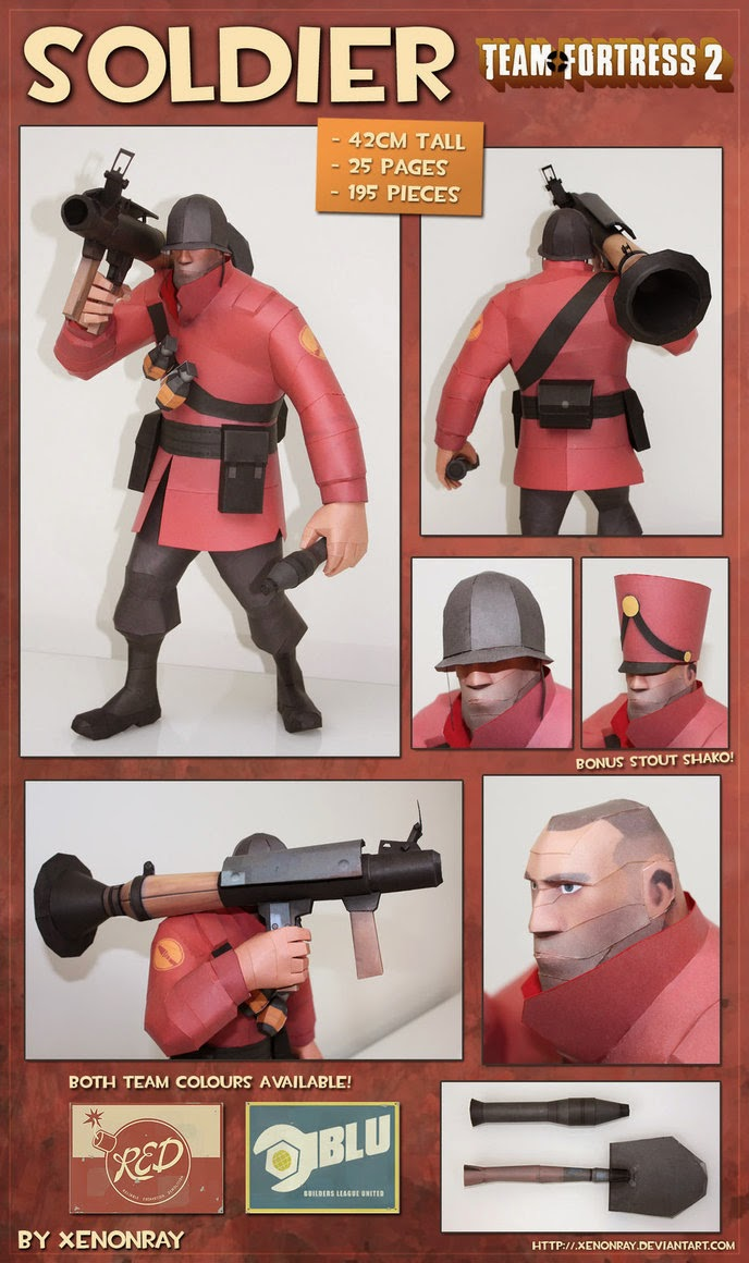 Team Fortress 2 - Soldier Papercraft | Papercraft Paradise | PaperCrafts | Paper Models | Card ...