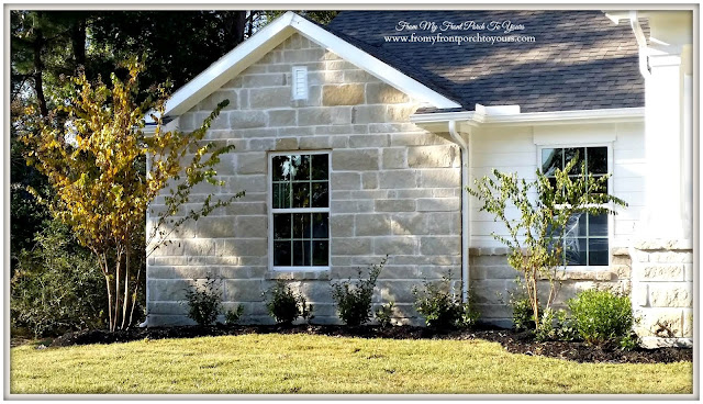 Suburban-White- Farmhouse-Landscpaing-Stonework-From My Front Porch To Yours