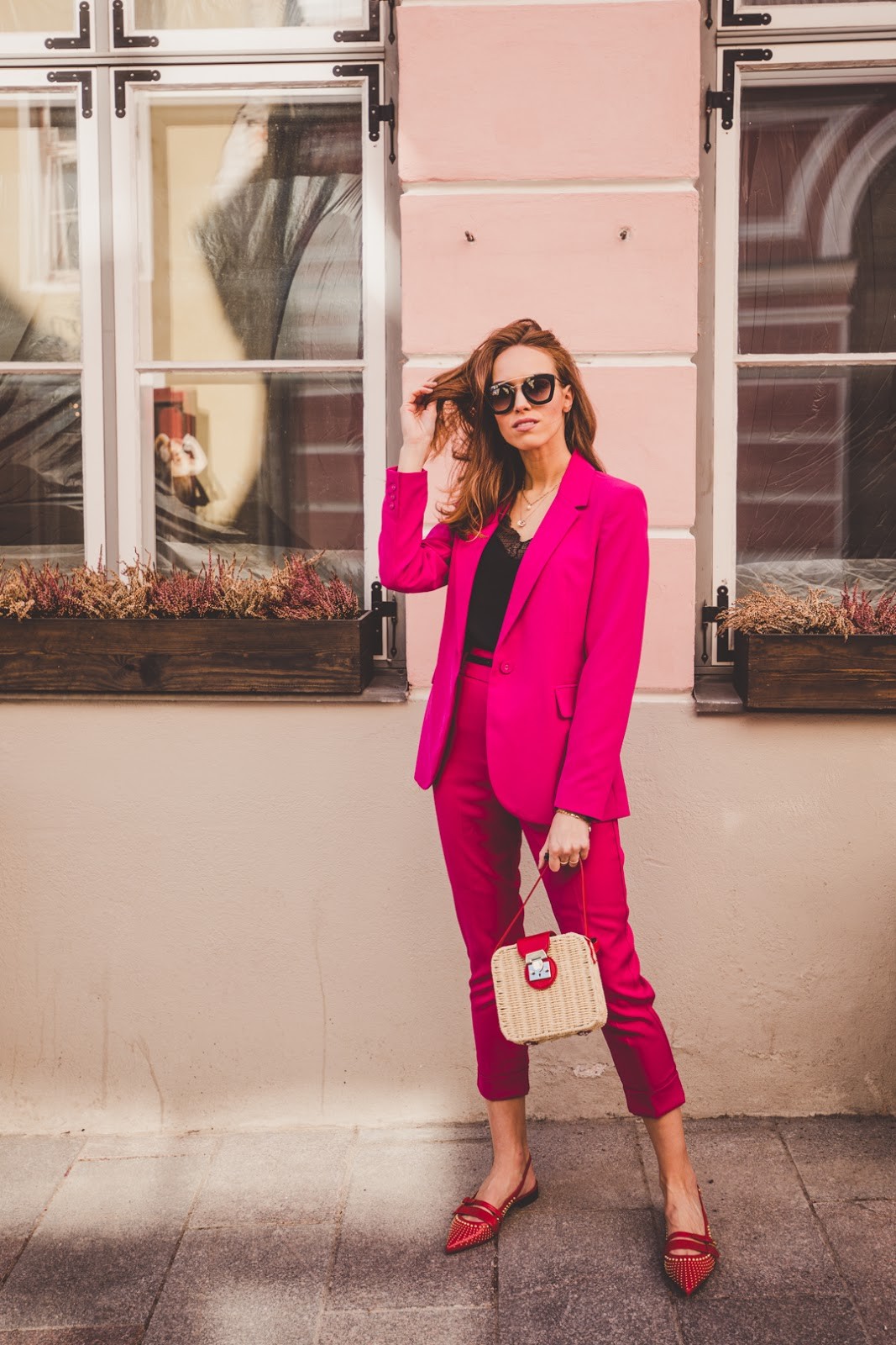 pink blazer pants spring outfit