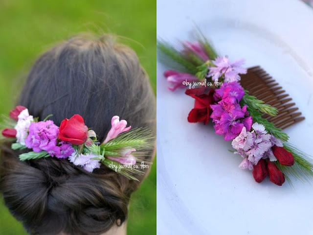 coafura cu flori naturale in par, pieptene fresh flower hair comb