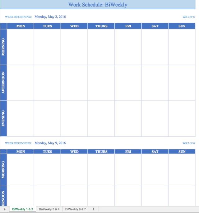 Free Printable Weekly Work Schedule Template - Excel Template - weekly schedule printable with times