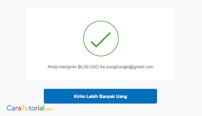 Gambar pembayaran atau kirim uang berhasil melalui Paypal