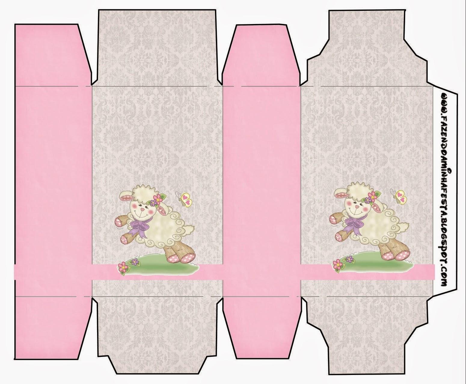 Cajas de Ovejita en Fondo Rosa para imprimir gratis.