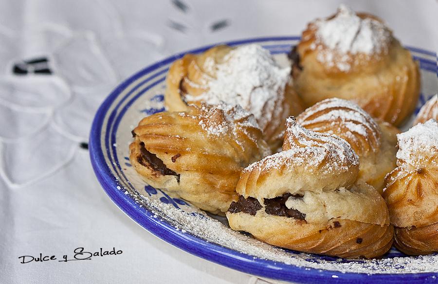 Dulce y salado profiteroles rellenos de crema pastelera - Profiteroles salados rellenos ...