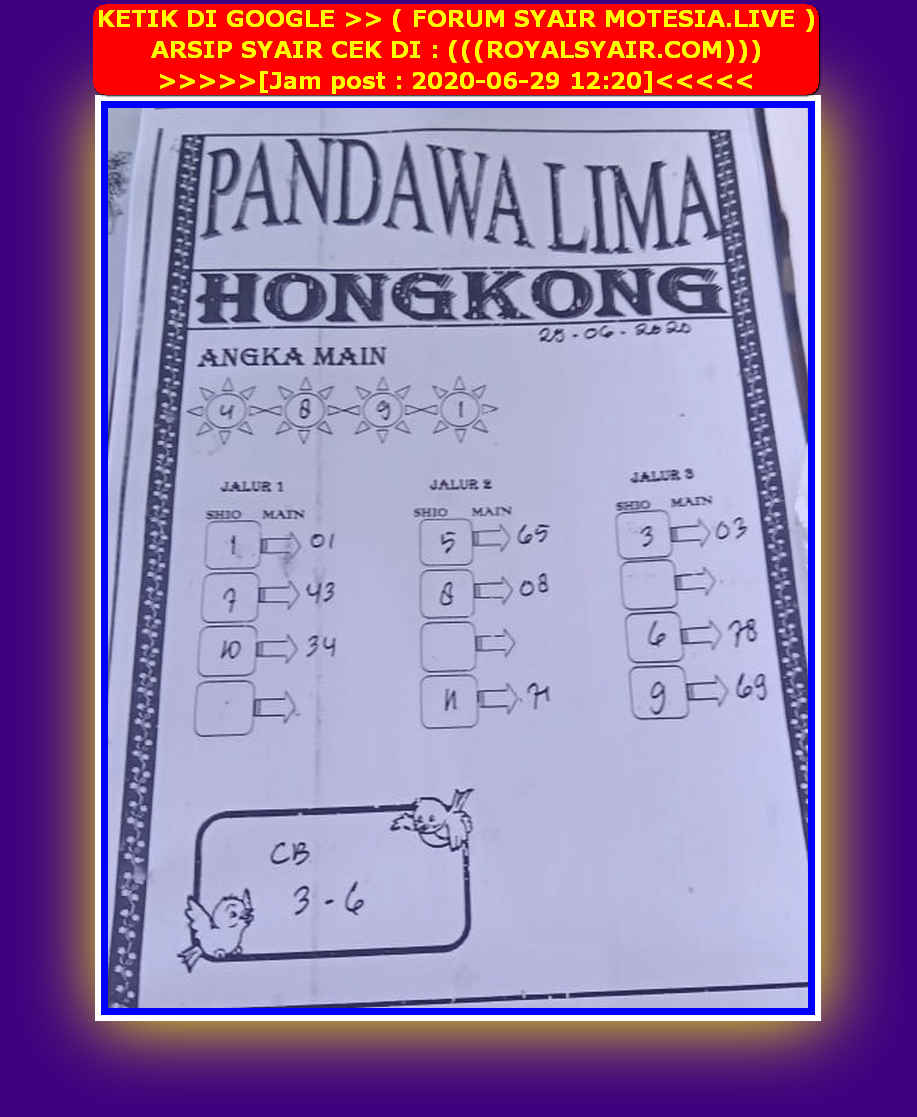 Kode syair Hongkong Senin 29 Juni 2020 88