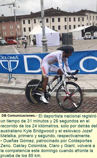 Bronce para Colombia: Diego Dueñas se ubicó tercero en La CRI de la copa mundo de ruta de paracycli