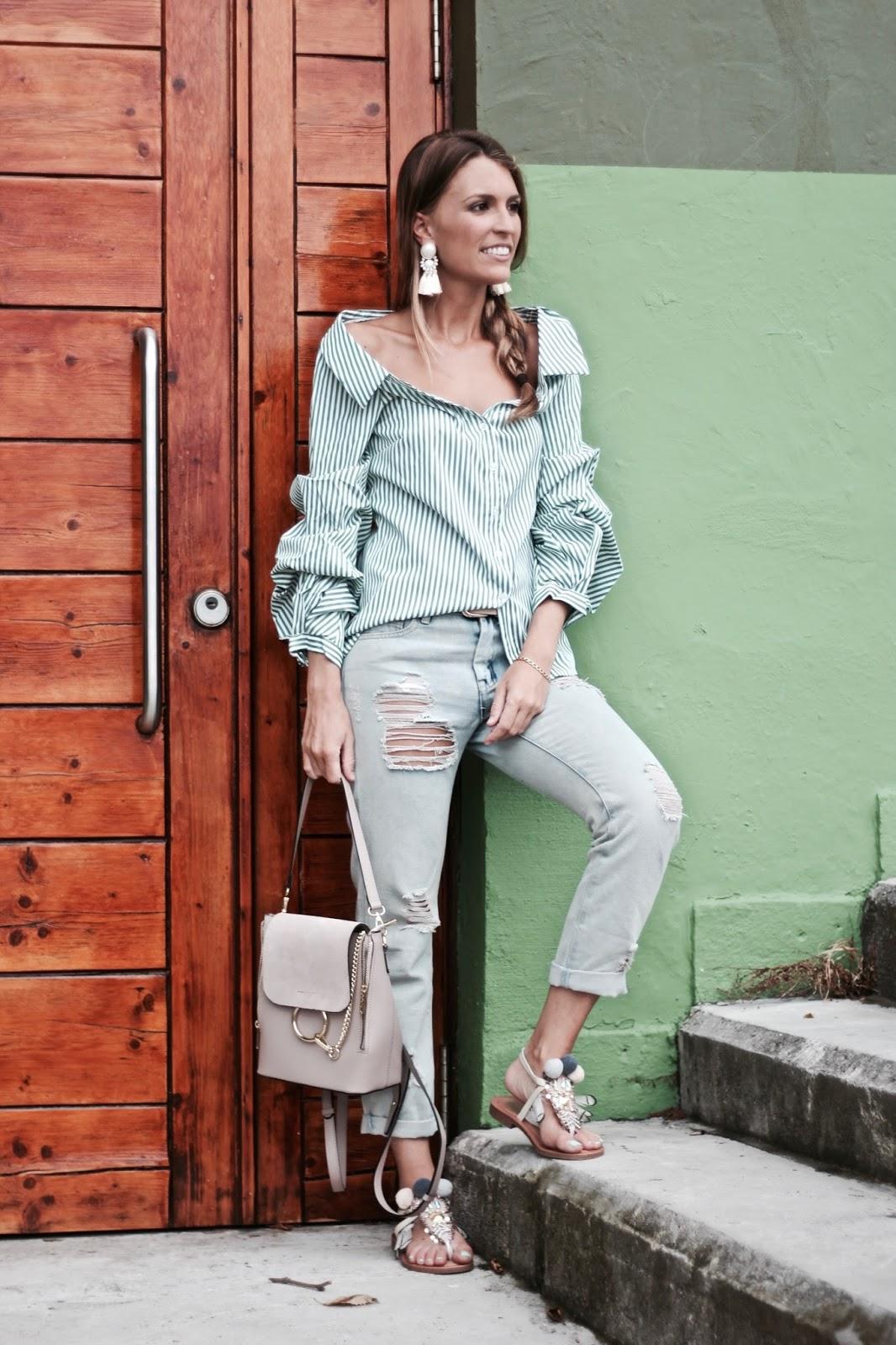 blusa rayas verdes y blancas