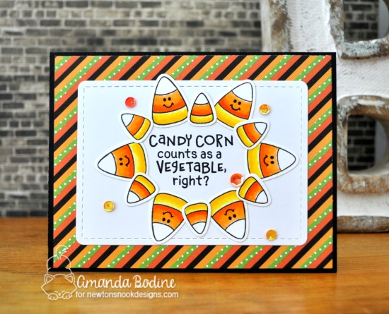 Candy Corn Card by Amanda Bodine | Candy Corn Stamp Set by Newton's Nook Designs #newtonsnook #handmade #halloween