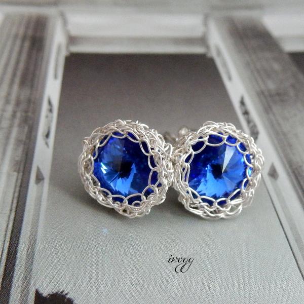 kobaltowe, koronkowe kolczyki ślubne
