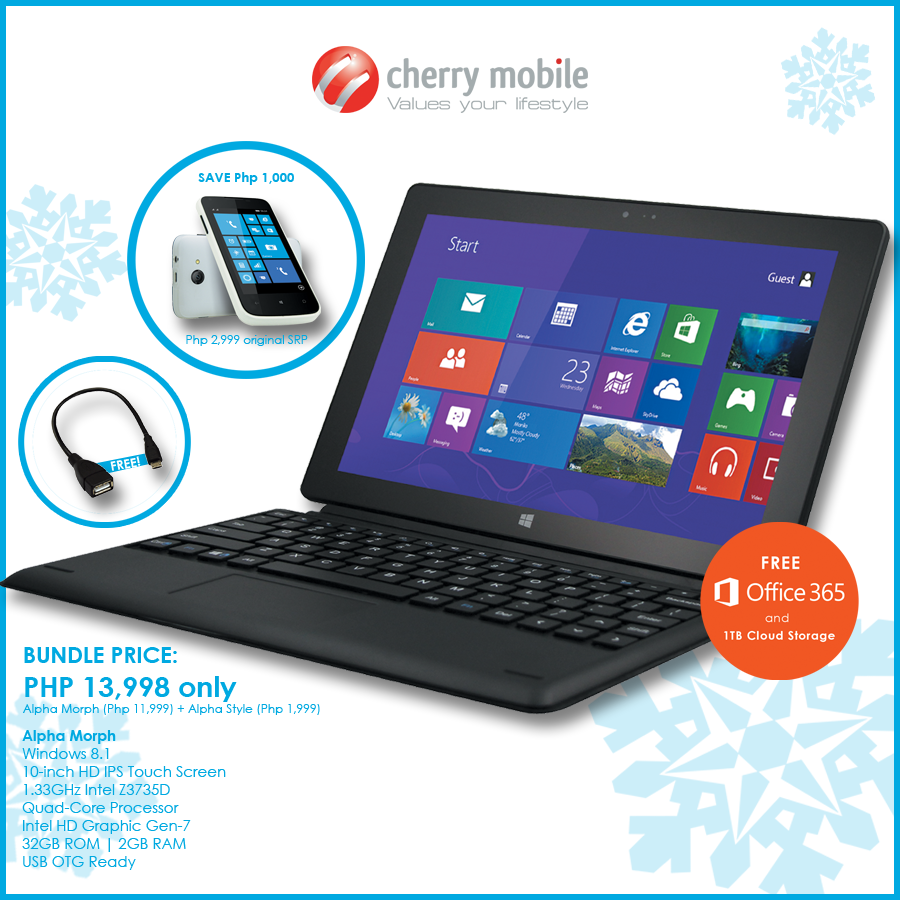 Cherry Mobile Alpha Morph Bundle Comes with Free Office 365, 1TB
