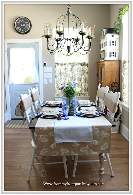Spring-Easter-Tablescape-Cottage-Farmhouse-Tablescape-Breakfast Nook-Diy Planked Table-Bunny Tablecloth-From My Front Porch To Yours