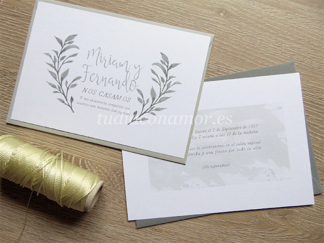 Invitaciones clásicas con un aire renovado en acuarela con ramas dibujadas