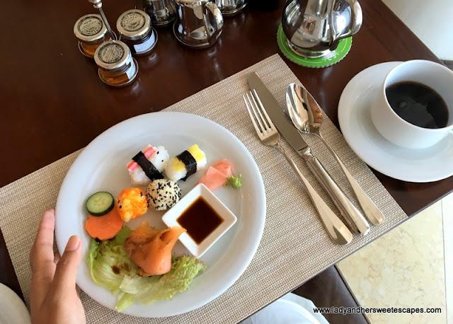 my breakfast at Danat Jebel Dhanna Resort