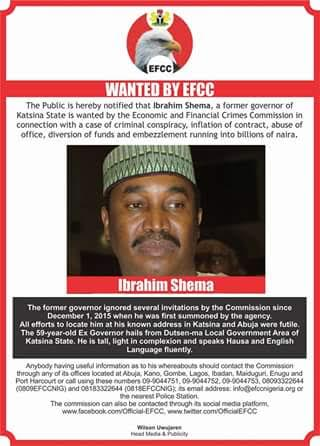 Kastina State Ex-Governor,  Ibrahim Shema,  declared wanted by EFFC