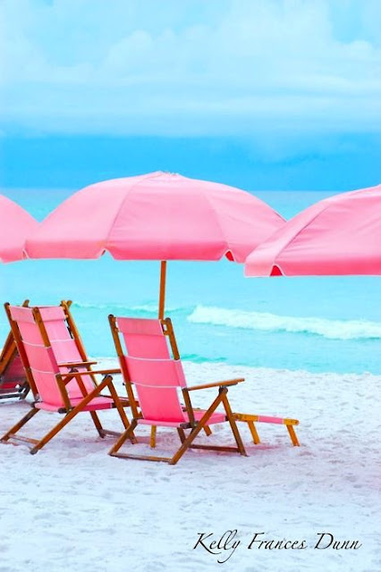 Pink chairs, pink umbrella, beach, sand