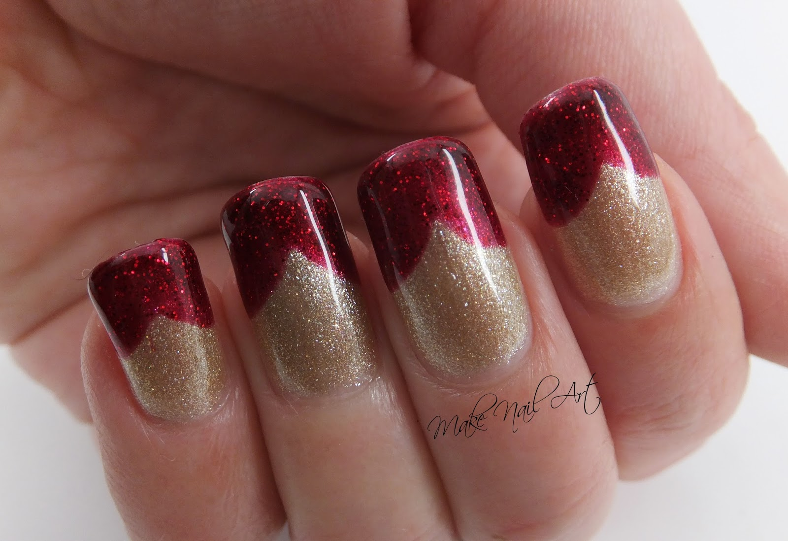 Make Nail Art Red And Gold Glitter Gel Polish French Manicure Nail