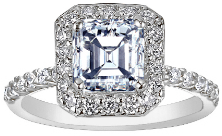An Asscher-cut diamond in an 18k white gold diamond-set halo setting.