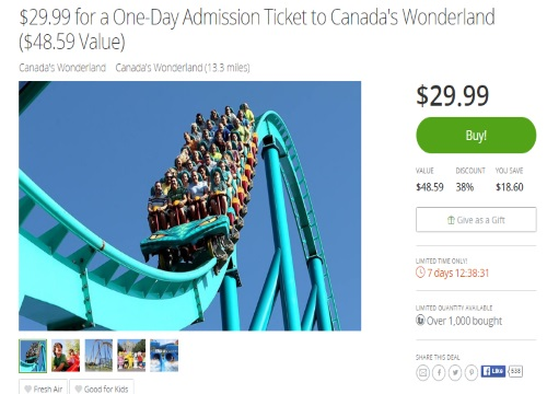 Groupon Canada's Wonderland One-Day Admission $29.99 ($48 Value)
