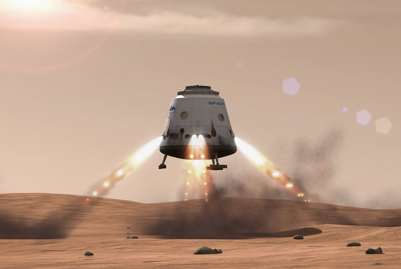 Red Dragon landing on Mars by SpaceX