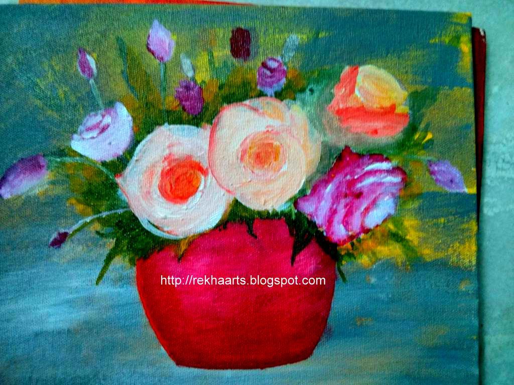 Varnaalaya Flower Vase Painting Acrylic On Canvas