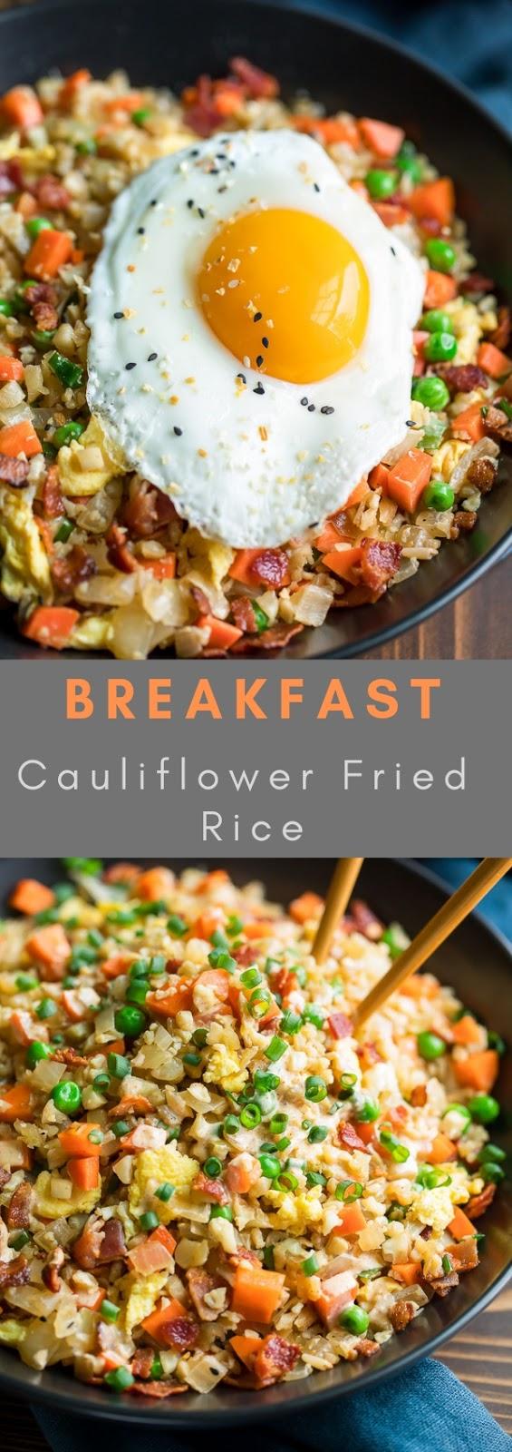 Breakfast Cauliflower Fried Rice #breakfast #bowl #veggie #healthy #cauliflower #fried #rice