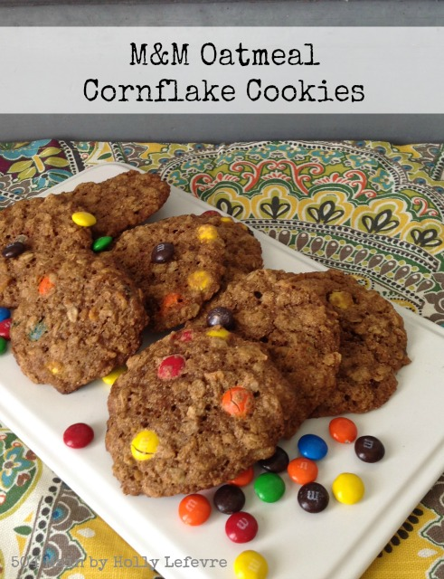 M&M Oatmeal Cornflake Cookies are the perfect blencd of sweet, crunchy and chewy.