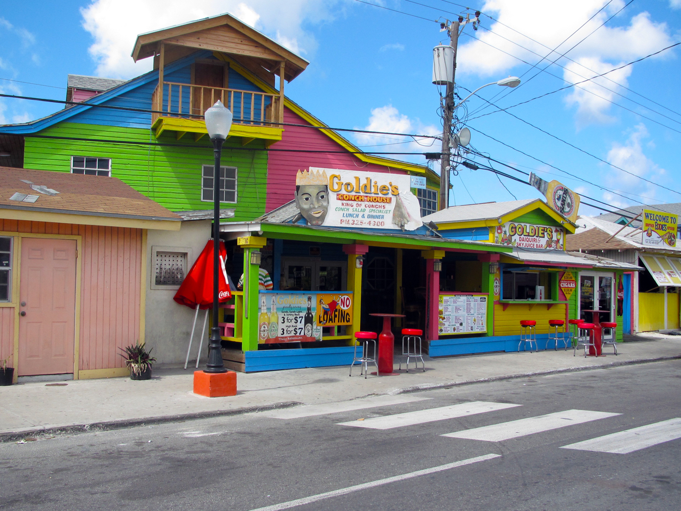 Goldie's restaurant at the Fish Fry in Arawak Cay, Nassau, Bahamas.